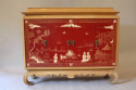 A pagoda Oak cabinet with carved doors depicting Chinese scenes, French c1940 - picture 10