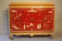 A pagoda Oak cabinet with carved doors depicting Chinese scenes, French c1940 - picture 2