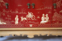 A pagoda Oak cabinet with carved doors depicting Chinese scenes, French c1940 - picture 6