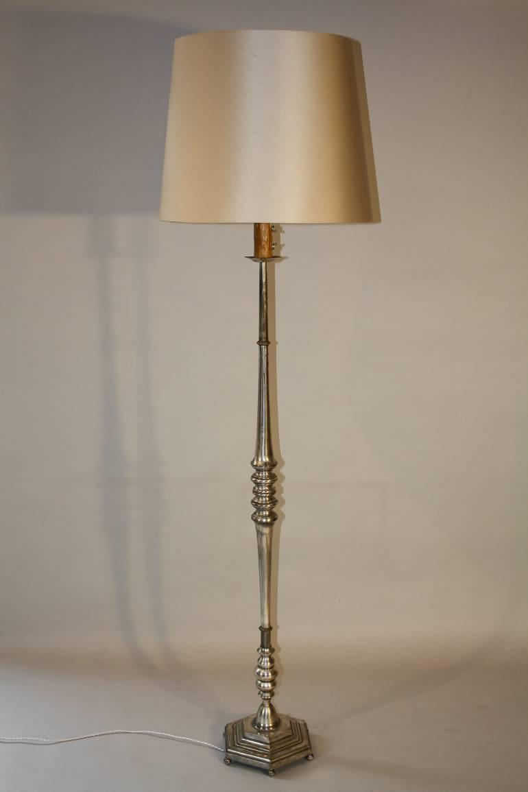 1950`s Spanish silver floor lamp.