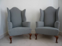 Pair of wing armchairs, English, Victorian, with shell decoration on feet, recently upholstered - picture 1