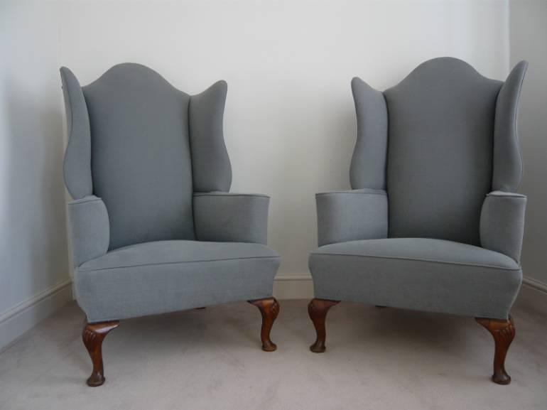 Pair of wing armchairs, English, Victorian, with shell decoration on feet, recently upholstered