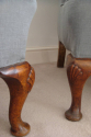 Pair of wing armchairs, English, Victorian, with shell decoration on feet, recently upholstered - picture 2
