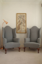 Pair of wing armchairs, English, Victorian, with shell decoration on feet, recently upholstered - picture 3