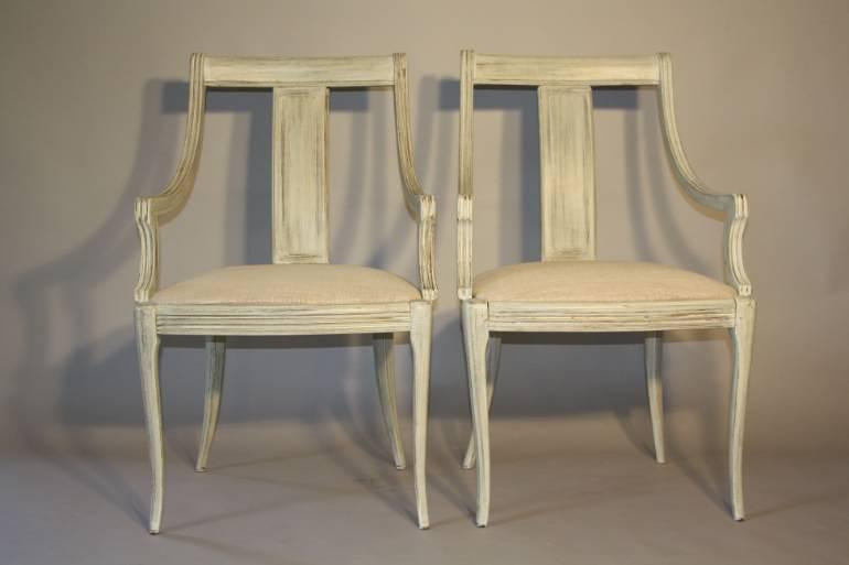 A set of eight painted dining chairs, c1950s