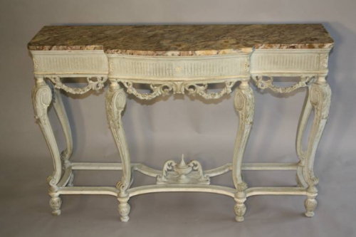 French Victorian painted and marble console. c1900