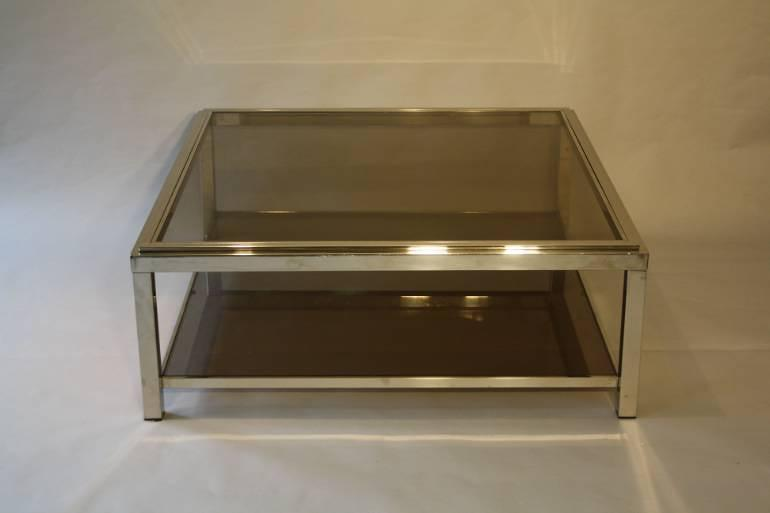 Silver metal two tier coffee table