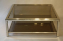 Silver metal two tier coffee table - picture 4
