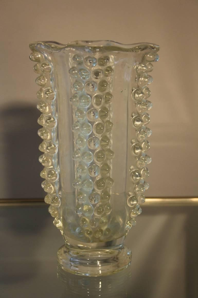 Glass hobnail vase, c1950