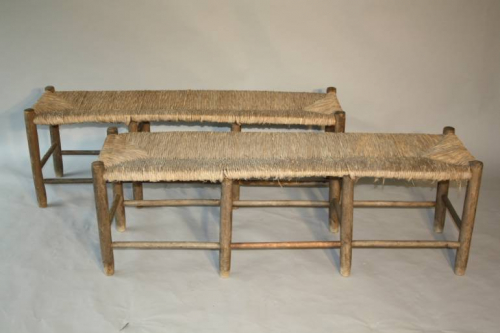 A rustic rush bench - only one left