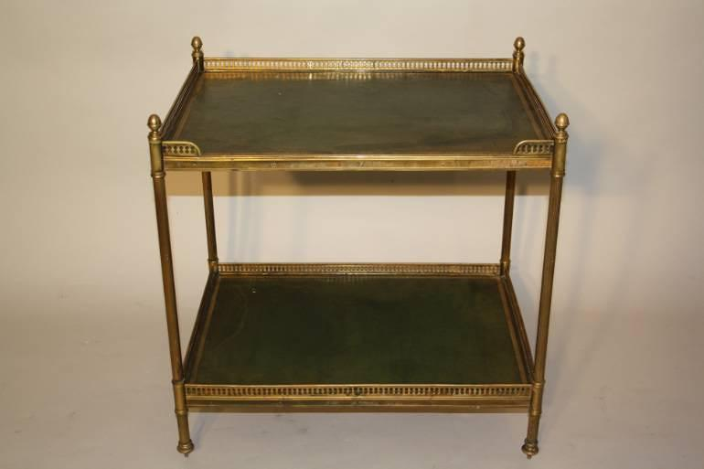 A Two Tier Green Leather and Brass Side Table
