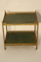 A Two Tier Green Leather and Brass Side Table - picture 2