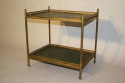 A Two Tier Green Leather and Brass Side Table - picture 3