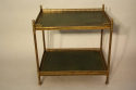 A Two Tier Green Leather and Brass Side Table - picture 4
