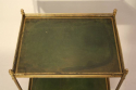 A Two Tier Green Leather and Brass Side Table - picture 5