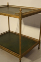 A Two Tier Green Leather and Brass Side Table - picture 6