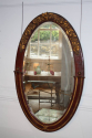 Unusual burgundy painted and gilt Art Deco oval mirror. French c1900 - picture 2