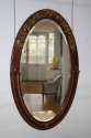Unusual burgundy painted and gilt Art Deco oval mirror. French c1900 - picture 3