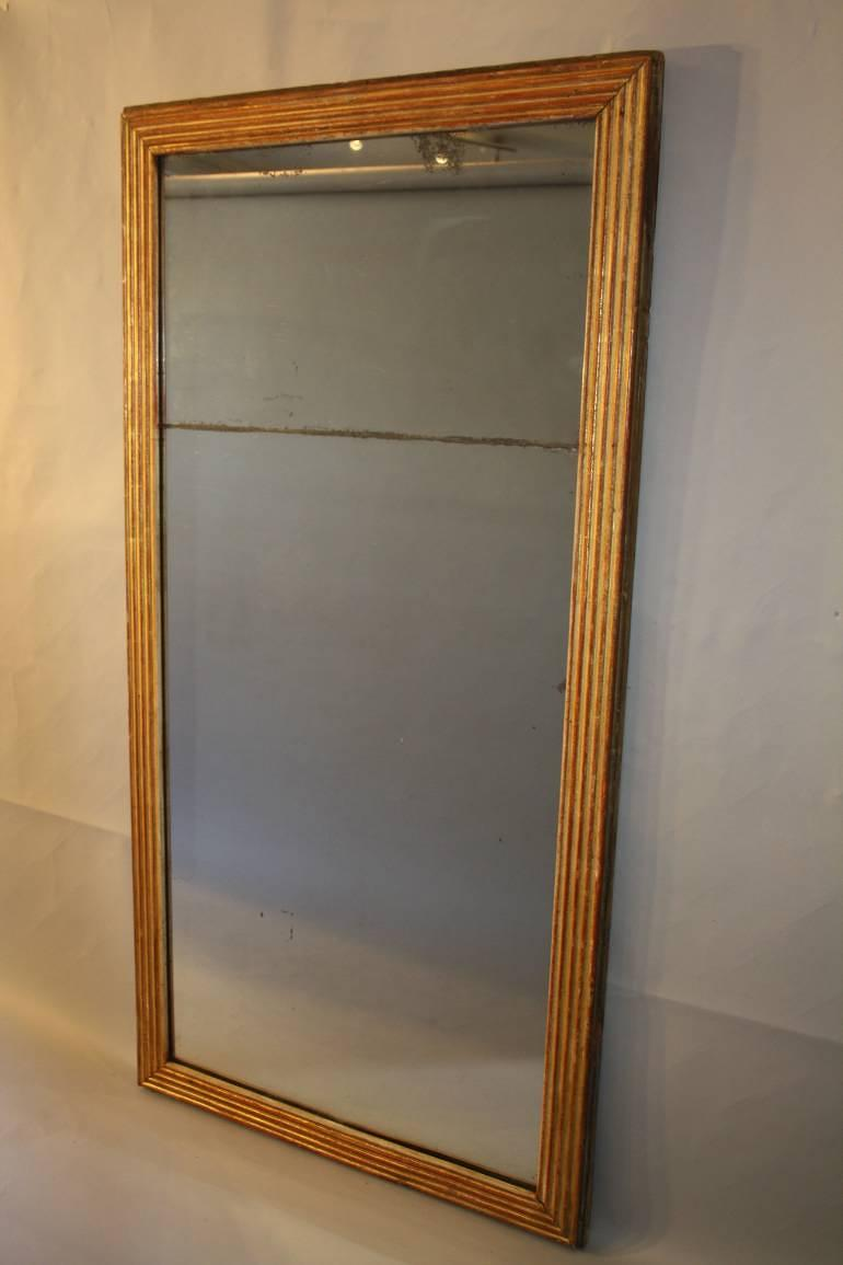 Reeded Giltwood mid C19th Mercury Glass Mirror