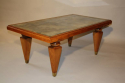 1940`s Walnut rectangular coffee table with distressed mirror glass top - picture 1