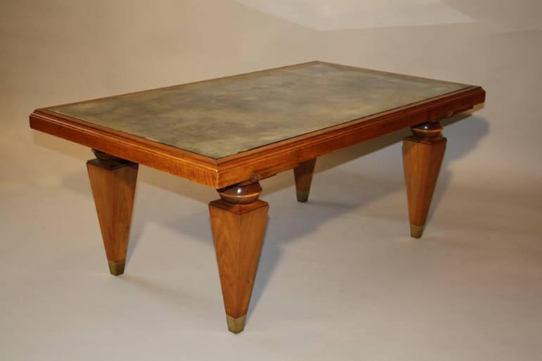 1940`s Walnut rectangular coffee table with distressed mirror glass top