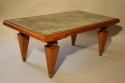 1940`s Walnut rectangular coffee table with distressed mirror glass top - picture 2