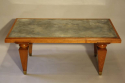 1940`s Walnut rectangular coffee table with distressed mirror glass top - picture 5
