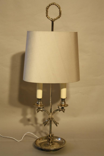 Silver Spanish table lamp with children detail