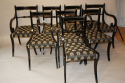 A set of eight brass and ebonised Regency dining chairs inc two carvers - picture 3