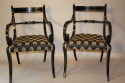 A set of eight brass and ebonised Regency dining chairs inc two carvers - picture 6