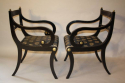 A set of eight brass and ebonised Regency dining chairs inc two carvers - picture 7