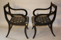 A set of eight brass and ebonised Regency dining chairs inc two carvers - picture 9
