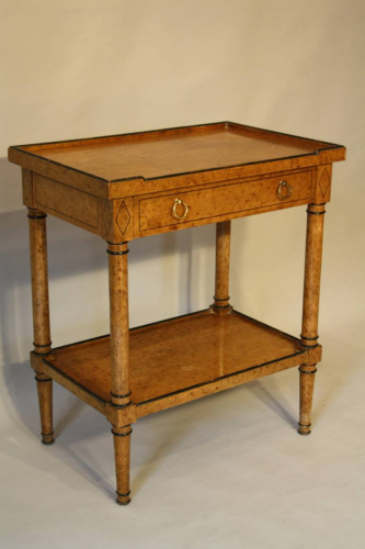 Painted faux burr walnut two tier side table
