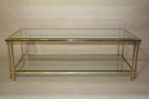 Two tier glass and pale gold metal table