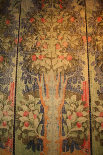 Antique four fold screen of stylised fruit trees in forest, Early 20thC c1910