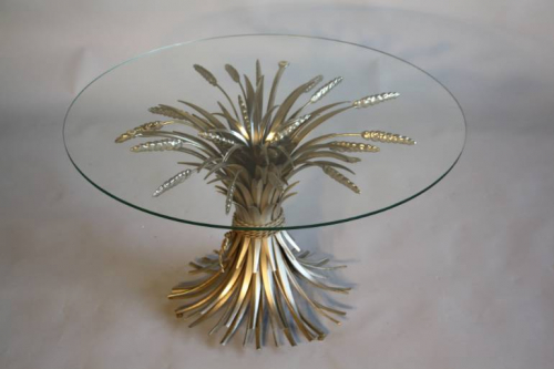 Silver metal wheat sheaf  table, French c1950