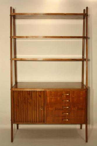 A 1950`s Italian Walnut open bookcase