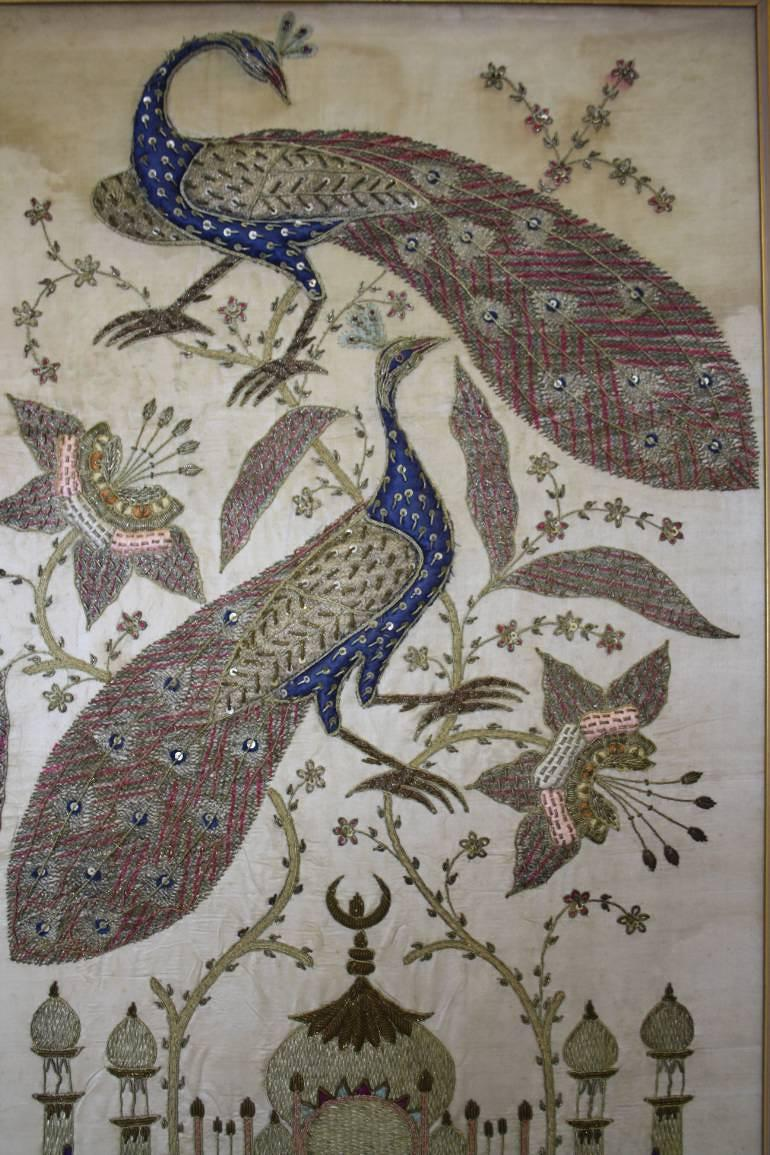 C19th Framed Indian hand embroidered silk