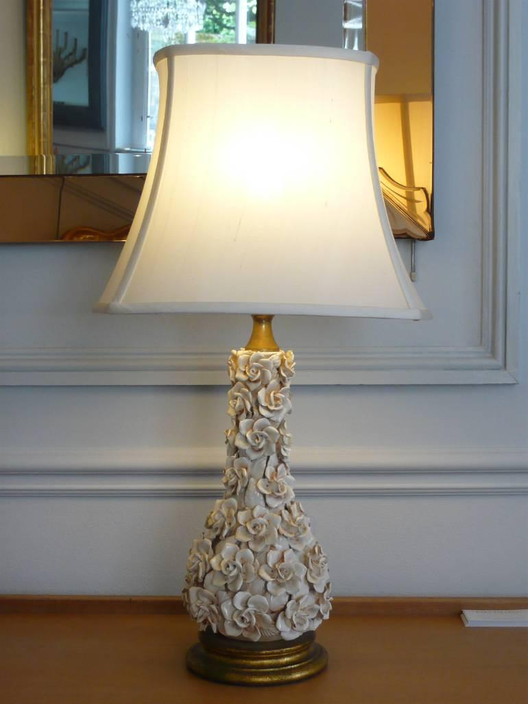 Italian white glazed ceramic rose flower table lamp, c1950