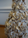 Italian white glazed ceramic rose flower table lamp, c1950 - picture 2