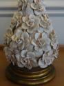 Italian white glazed ceramic rose flower table lamp, c1950 - picture 4