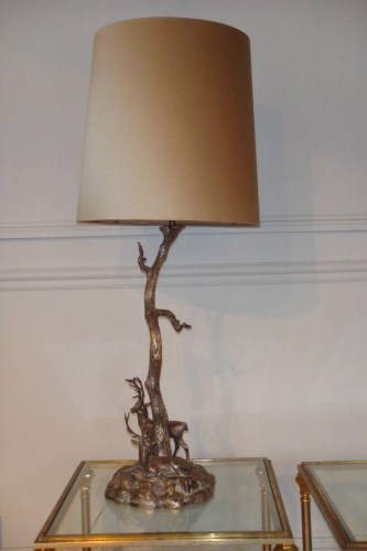 Large Valenti silver metal table lamp, c1950 Italian