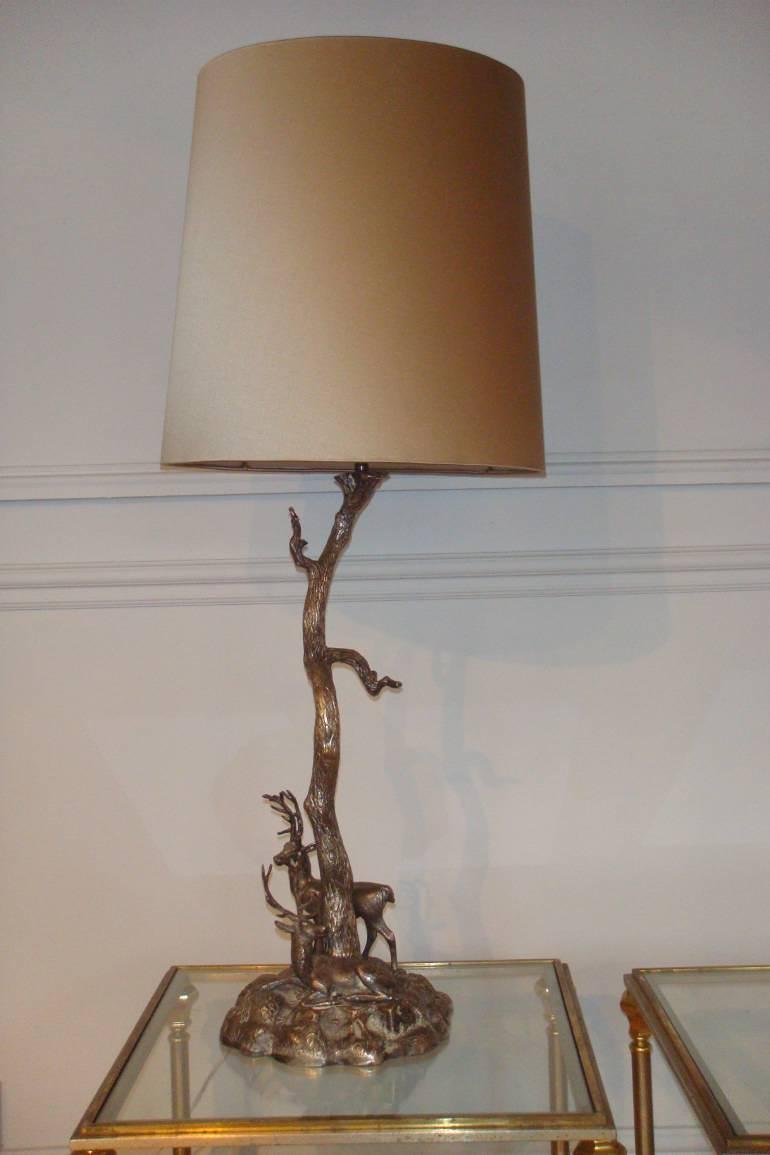 Large Valenti silver metal table lamp, c1950 Italian