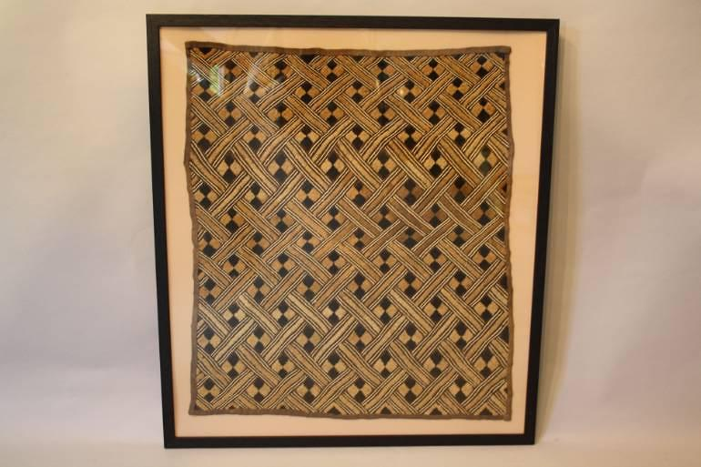 Pair of framed African Kuba textiles