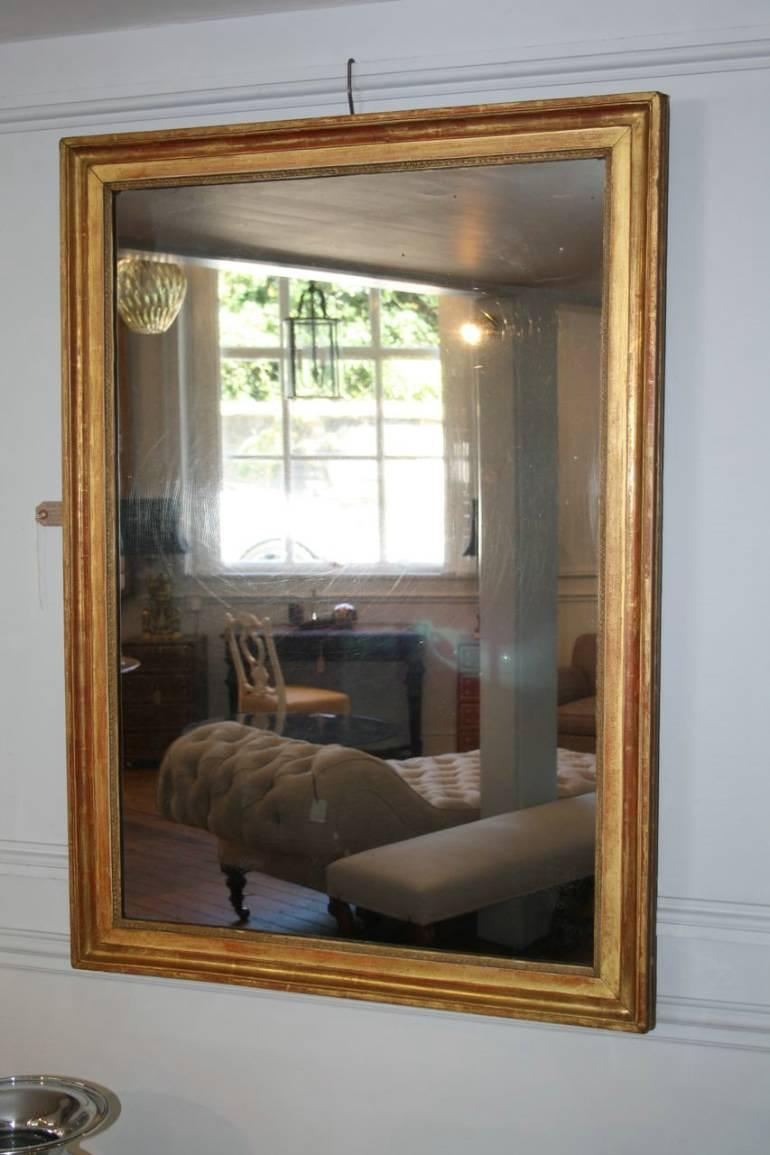 Gold leaf rectangular mirror, French c1880