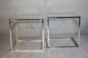 A pair of Collezione Sabattini silver metal side tables. Italian c1970 - picture 1