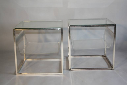 A pair of Collezione Sabattini silver metal side tables. Italian c1970