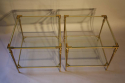 A pair of two tier brass side tables, French c1970 - picture 3