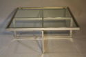 Large silver framed and glass coffee table - picture 1