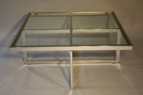 Large silver framed and glass coffee table